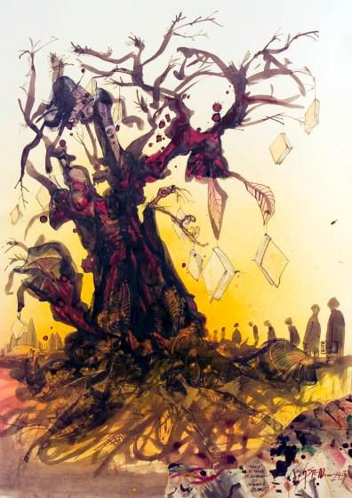Ilustraçãoo de Ralph Steadman para Fahrenheit 451
